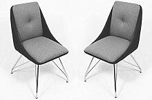 CAVADORE Esszimmerstuhl 2er Set ELEA / 2x moderne Stühle mit stilischer Sitzschale / Bezug Kunstleder Schwarz / Sitz und Rücken in Stoff Grau /Gestell Metall verchromt / 66x86x60,5cm (BxHxT)