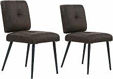 CAVADORE Esszimmerstuhl 2er Set POPPY/2x Stuhl - Klassiker im Vintage look/Bezug Vintage fabric anthrazit/Gestell Metall schwarz pulverbeschichtet/46 x 61,5 x 85 cm (BxHxT)