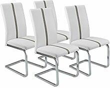 CAVADORE Esszimmerstuhl 4-er Set ENZO, 4x Freischwinger in modernem Design, Bezug Lederimitat Weiß mit grauer Applikation, Metallgestell verchromt, 52 x 43 x 100 cm (T x B x H)