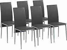 CAVADORE Esszimmerstuhl 6er Set MILAN / 6x Küchenstuhl im modernem Design / Bezug Lederimitat Schwarz / Gestell Metall Silber pulverbeschichtet /  6 Stühle Schwarz / 40 x 96 x 49 cm (BxHxT) / 6er Se