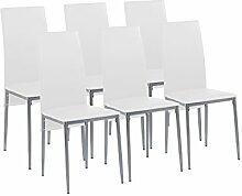 CAVADORE Esszimmerstuhl 6er Set MILAN / 6x Küchenstuhl im modernem Design / Bezug Lederimitat Weiß / Gestell Metall Silber pulverbeschichtet /  6 Stühle Weiß / 40 x 96 x 49 cm (BxHxT) / 6er Se