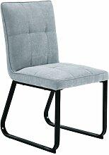 CAVADORE Esszimmerstuhl  im 2-er Set TILDA / 2x gepolsterte Stühle in klassischem Design / Bezug Vintage Kunstleder in HELLGRAU und verchromtem Metallgestell / 56x86x55cm (BxHxT)