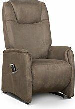 Cavadore Fernsehsessel Mamby / TV-Sessel mit manuell verstellbarer Rückenlehne und Fußstütze / Ergonomie S / Belastbar bis 130 kg / Größe: 69x115x83 (BxHxT) / Farbe: Nuss (braun)