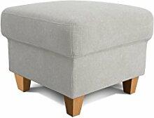 Cavadore Hocker Finja, Fußablage, Hocker im Landhausstil, passend zum Sessel Finja, Maße: 59 x 47 x 59 cm (BxHxT), Farbe: Hellgrau