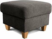 Cavadore Hocker Finja, kleiner Polsterhocker im Landhausstil, passend zum Sessel Finja, Maße: 59 x 47 x 59 cm (BxHxT), Farbe: Dunkelgrau