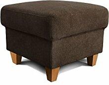 Cavadore Hocker Finja, kleiner Sitzhocker im Landhausstil, passend zum Sessel Finja, Maße: 59 x 47 x 59 cm (BxHxT), Farbe: Dunkelbraun (espresso)