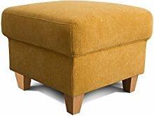 Cavadore Hocker Finja, quadratischer Beistellhocker im Landhausstil, passend zum Sessel Finja, Maße: 59 x 47 x 59 cm (BxHxT), Farbe: Gelb (mustard)