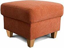 Cavadore Hocker Finja, quadratischer Beistellhocker im Landhausstil, passend zum Sessel Finja, Maße: 59 x 47 x 59 cm (BxHxT), Farbe: Orange (terra)