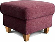 Cavadore Hocker Finja, quadratischer Fußhocker im Landhausstil, passend zum Sessel Finja, Maße: 59 x 47 x 59 cm (BxHxT), Farbe: Weinrot (chianti)