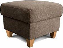 Cavadore Hocker Finja, quadratischer Fußhocker im Landhausstil, passend zum Sessel Finja, Maße: 59 x 47 x 59 cm (BxHxT), Farbe: Hellbraun (taupe)
