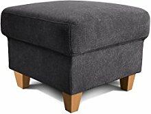 Cavadore Hocker Finja, quadratischer Polsterhocker im Landhausstil, passend zum Sessel Finja, Maße: 59 x 47 x 59 cm (BxHxT), Farbe: Schwarz