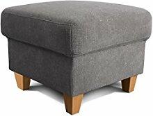 Cavadore Hocker Finja, quadratischer Polsterhocker im Landhausstil, passend zum Sessel Finja, Maße: 59 x 47 x 59 cm (BxHxT), Farbe: Grau