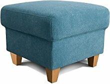 Cavadore Hocker Finja, quadratischer Polsterhocker im Landhausstil, passend zum Sessel Finja, Maße: 59 x 47 x 59 cm (BxHxT), Farbe: Hellblau