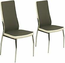 CAVADORE Küchenstuhl im 2er Set MATTIS/2x Esszimmer Stühlein modernem Design/Bezug Lederimitat Schwarz it weißer Applikation/Stuhl grau-weiß/Gestell Metall verchromt/54 x 44 x 101 cm (T x B x H)