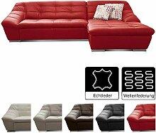 Cavadore Leder-Sofa Lucas / Eck-Couch in Echtleder