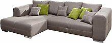 Cavadore Polsterecke Binato mit Bett und Longchair links / Gemütliche Sitzecke mit Klappbett und Wellenunterfederung / Maße: 286 x 87 x 171 cm (BxHxT) / Farbe: Toro Steelgrau in Lederoptik (hellgrau)
