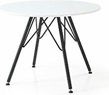 CAVADORE runder Esstisch FINO/Tischplatte in weiß