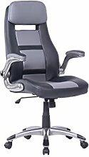 CAVADORE Schreibtisch Stuhl FANTASTIC in Schwarz/Grau/Drehstuhl aus Kunstleder, mit Rollen & Armlehnen/Bürostuhl höhenverstellbar/65 x 114-123 x 71 cm (B x H x T)