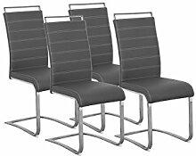 Cavadore Schwingerstuhl 4-er Set Sherry / Freischwinger ohne Armlehne in modernem Design / Lederimitat / Stuhlset grau / 57 x 43 x 101 cm (T x B x H)
