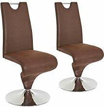 CAVADORE Schwingstuhl im 2er Set TRACY/2x Esszimmerstuhl im Vintage - Look/Stuhl mit Griff und Fußteller/Bezug Kunstleder BRAUN und verchromten Tellerfuß/49 x 102 x 53,5 cm (BxHxT)