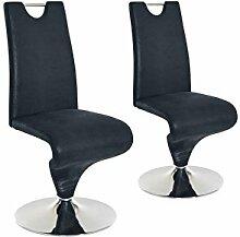 CAVADORE Schwingstuhl im 2er Set TRACY/2x Esszimmerstuhl im Vintage - Look/Stuhl mit Griff und Fußteller/Bezug Kunstleder ANTHRAZIT schwarz und verchromten Tellerfuß/49 x 102 x 53,5 cm (BxHxT)