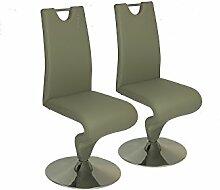 CAVADORE Schwingstuhl im 2er Set TRACY/2x Esszimmerstuhl in modernem Design/Stuhl mit Griff und Fußteller/Bezug Kunstleder GRAU und verchromten Tellerfuß/49 x 102 x 53,5 cm (BxHxT)