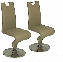 CAVADORE Schwingstuhl im 2er Set TRACY/2x Esszimmerstuhl in modernem Design/Stuhl mit Griff und Fußteller/Bezug Kunstleder SCHILF-farbend und verchromten Tellerfuß/49 x 102 x 53,5 cm (BxHxT)