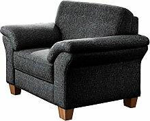 CAVADORE Sessel Baltrum mit Federkern im Landhausstil/Wunderschöner Sessel für Landhaus Garnitur Baltrum/Holzfüße Buche natur/101 x 87 x 88 cm (BxHxT)/Strukturstoff Grau