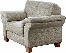 Cavadore Sessel Boorkumoo mit Federkern im Landhausstil / Wunderschöner Sessel für Landhaus Garnitur Boorkumoo / Füße: Holzfüße Buche natur / Größe: 101 x 87 x 88 cm (BxHxT) / Farbe: Strukturstoff in Natur (weiß/beige)