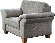 Cavadore Sessel Boorkumoo mit Federkern im Landhausstil / Wunderschöner Sessel für Landhaus Garnitur Boorkumoo / Füße: Holzfüße Buche natur / Größe: 101 x 87 x 88 cm (BxHxT) / Farbe: Monet Mint Strukturstoff