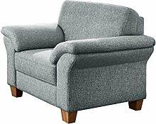Cavadore Sessel Boorkumoo mit Federkern im Landhausstil / Wunderschöner Sessel für Landhaus Garnitur Boorkumoo / Füße: Holzfüße Buche natur / Größe: 101 x 87 x 88 cm (BxHxT) / Farbe: Silber/Grau (hellgrau)