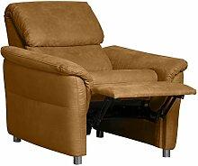 CAVADORE Sessel Chalsay inkl. Relaxfunktion/Moderner Relaxsessel mit Federkern/Größe: 90 x 94 x 92 cm (BxHxT)/Farbe: Hellbraun (Mustard)
