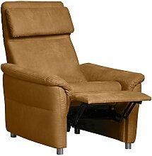 Cavadore Sessel Chalsay inkl. verstellbarem Kopfteil und Relaxfunktion / mit Federkern / moderner Federkern-Sessel mit Liegefunktion und Kopfteilfunktion / Größe: 90 x 94 x 92 cm (BxHxT) / Farbe: Hellbraun (mustard)