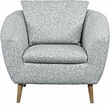 CAVADORE Sessel Flira mit Rückenkissen/Sessel im modernen skandinavischen Design mit Holzfüßen in Buche natur/3-2-1 Garnitur/Größe: 99 x 78 x 89 cm (BxHxT)/Strukturstoff in Silbergrau (hellgrau/weiß)