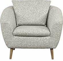 CAVADORE Sessel Flira mit Rückenkissen/Sessel im modernen skandinavischen Design mit Holzfüßen in Buche natur/3-2-1 Garnitur/Größe: 99 x 78 x 89 cm (BxHxT)/Strukturstoff in natur (beige/weiß)