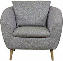 Cavadore Sessel Flira mit Rückenkissen / Sessel im modernen skandinavischen Design mit Holzfüßen in Buche natur / 3-2-1  Garnitur / Größe: 99 x 78 x 89 cm (BxHxT) / Vierfarbiger Strukturstoff in pink,hellblau, grün und weiß