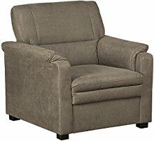 Cavadore Sessel Pisoo im klassischen Design / Gemütlicher Fernsehsessel fürs Wohnzimmer / Wohnzimmersessel / Größe: 86 x 89 x 90 cm (BxHxT) / Farbe: Stahlgrau (grau)