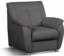 Cavadore Sessel Sunuma mit Federkern / Moderner Polstersessel passend zum Sofa Sunuma / Größe: 95 x 91 x 90 cm (BxHxT) / Farbe: Dunkelgrau