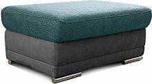 Cavadore Sofahocker Xenit / Fußhocker, Sitzbank, Couch-Hocker passend zu Couch und Wohnlandschaft Xenit / Größe: 99 x 44 x 66 cm (BxHxT) / Farbe: Türkis - Grau