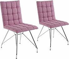 CAVADORE Stuhl 2er Set ALMA/2x Esszimmerstuhl mit Stoffbezug/moderner Küchenstuhl/Webstoff Altrosa/44 x 56.5 x 87 cm (L x B x H)