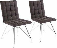 CAVADORE Stuhl 2er Set ALMA/2x Esszimmerstuhl mit Stoffbezug/moderner Küchenstuhl/Webstoff Anthrazit/44 x 56.5 x 87 cm (L x B x H)