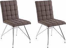 CAVADORE Stuhl 2er Set ALMA/2x Esszimmerstuhl mit Stoffbezug/Moderner Küchenstuhl/Webstoff Braun/44 x 56.5 x 87 cm (L x B x H)