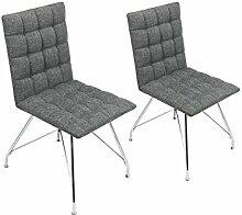 CAVADORE Stuhl 2er Set ALMA / 2x Esszimmerstuhl mit Stoffbezug / moderner Küchenstuhl / Webstoff Hellgrau / 44 x 56.5 x 87 cm (L x B x H)