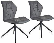 CAVADORE Stuhl 2er Set INDIRA/2x Esszimmerstühle 360° drehbar/2 gepolsterte Stühle in modernem Design/Bezug Kunstleder Grau/Gestell Metall pulverbeschichtet Schwarz/52x91x62 cm (BxHxT)