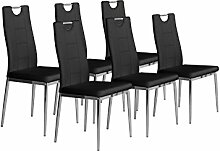 CAVADORE Stuhl 6-er Set BAMBI/6x Esszimmerstuhl in modernem Design/Metall verchromt/Lederimitat schwarz/52 x 46 x 97 cm (T x B x H)