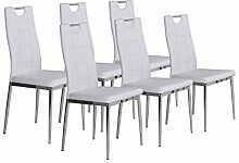 CAVADORE Stuhl 6-er Set BAMBI/6x Esszimmerstuhl in modernem Design/Metall verchromt/Lederimitat Weiß/52 x 46 x 97 cm (T x B x H)