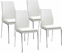 Cavadore Stuhl Greg 02/Untergestell Metall verchromt/Kunstleder Weiß/B 43,5 H 93,5 T 54,5 cm