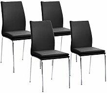 Cavadore Stuhl Greg 02/Untergestell Metall verchromt/Kunstleder Schwarz/B 43,5 H 93,5 T 54,5 cm