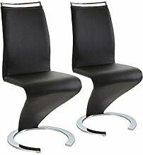 CAVADORE Stuhl Helen/Qualitativ hochwertiger Stuhl mit Lederimitat in schwarz/49,5 x 61,5 x 100,5 cm
