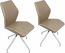 Cavadore Stuhl Spirit 01/2er Set/Untergestell Metall verchromt/Kunstleder Cappuccino/B 44, H 88,5, T 59,5 cm